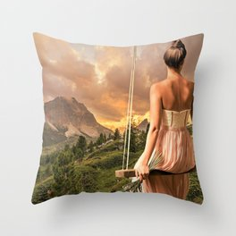 Fantastic Fairytale Princess On Seesaw Above Magnificent Countryside Dreamy UHD Throw Pillow