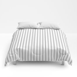 Mattress Ticking Narrow Striped Pattern in Charcoal Grey and White Comforters