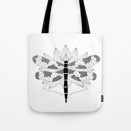 Dragonfly Over Lotus Tote Bag
