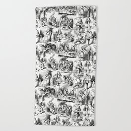 Alice in Wonderland   Toile de Jouy   Black and White Beach Towel
