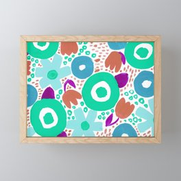 Bold Abstract Floral Inspired Pattern (Blue, Aqua, Purple, Raw Sienna) Framed Mini Art Print