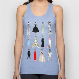 Outfits of Audrey Hepburn Fashion (White) Unisex Tank Top