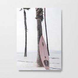 Pink Surfboard on Beach, Coastal Living Decor Metal Print