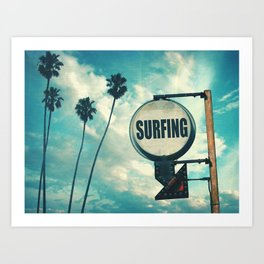 Surfing Sign Art Print