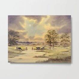 Burst Of Sunlight - Grazing Holstein Cows  Metal Print