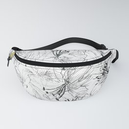 lily sketch black and white pattern Fanny Pack