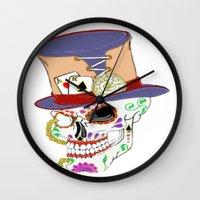 steam punk Wall Clocks featuring Steam Punk Sugar Skull by J&C Creations
