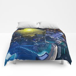 Tardis doctor who flying above modern starry night city Comforters