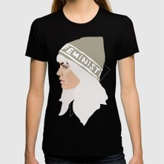 Feminist (Silver) Womens Fitted Tee Black MEDIUM