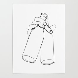 """"""" Kitchen Collection """" - Hand Holding Two Beer Bottles Poster"""