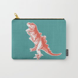 Dino Pop Art - T-Rex - Teal & Dark Orange Carry-All Pouch