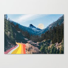 1960's Style Mountain Collage Canvas Print