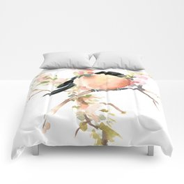 Bullfinch and Spring, Peach colored Floral bird art, spring soft colors Comforters