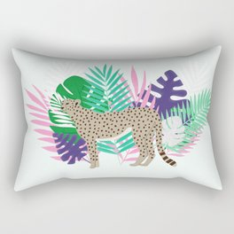 Leopard and jungle leaves Rectangular Pillow