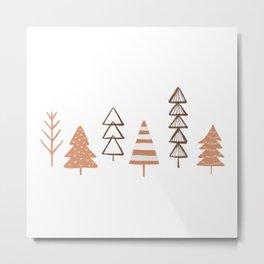 Minimal Christmas, Winter Trees Illustration Metal Print