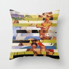 Glitch Pin-Up Redux: Farrah Throw Pillow