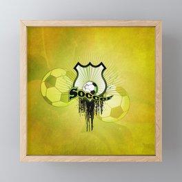 Soccer, football on a shield Framed Mini Art Print