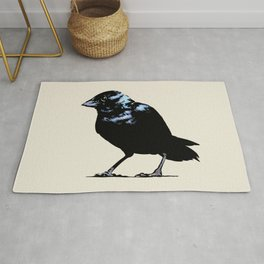 Blue-black Grassquit Bird Ink Illustration Rug