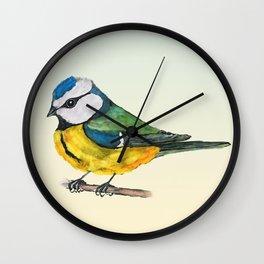 Blue tit watercolor Wall Clock