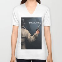 casablanca V-neck T-shirts featuring Cinema Classics: Casablanca by ErstwhileSky