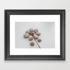 Playful snails, morning people Framed Art Print