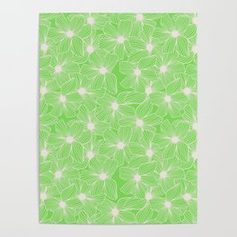02 White Flowers on Green Poster