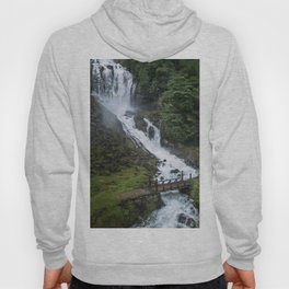 Painterly Waterfall in Norway with bridge in foreground -Landscape Photography Hoody