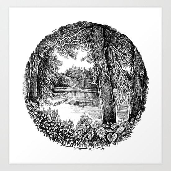 Trees near the river Art Print