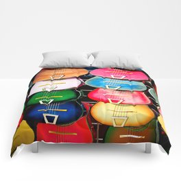 Colorful Wooden Guitars Comforters
