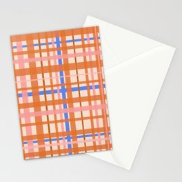 Retro Plaid Pattern in Orange, Pink, and Blue Stationery Cards