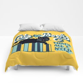 Cats and Books: That's All I Need Quote Art - Blue, Turquoise, Yellow, White, Black Comforters