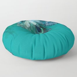 DREAMY FEATHERS & LEAVES - Deep Cyan Floor Pillow