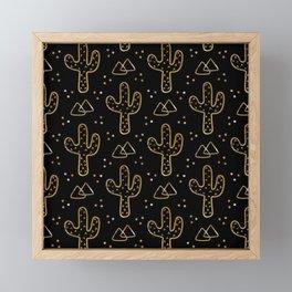Midnight Desert Cacti Framed Mini Art Print