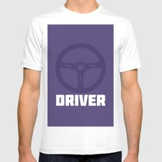 Driver MEDIUM White Mens Fitted Tee