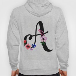 Letter A Watercolor Floral Background Hoody