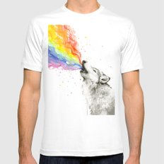 Wolf Rainbow Watercolor Howling Animal Whimsical Animals White X-LARGE Mens Fitted Tee
