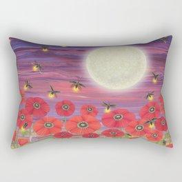 purple sky, fireflies, snails, and poppies Rectangular Pillow