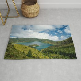 Crater lake in Azores Rug