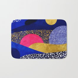 Terrazzo galaxy blue night yellow gold pink Bath Mat