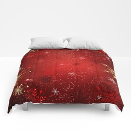 Red Background with Gold Snowflakes Comforters