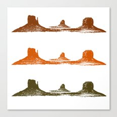 Monument Valley, 3 mountains, 3 colors Canvas Print