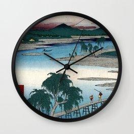 Hiroshige - 36 Views of Mount Fuji (1858) - 13: The Tama River in Musashi Province Wall Clock