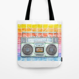 Boombox - Watercolor - Rainbow Background vintage boombox - Stereo - 1980s Tote Bag