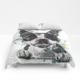 Boston Terrier Paint Splatter Comforters