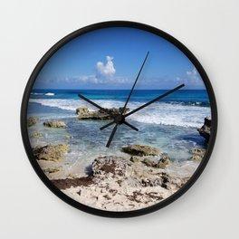 Rocky Beach, Cancun Mexico Isla Mujeres Carribean Clouds Blue Waves Wall Clock