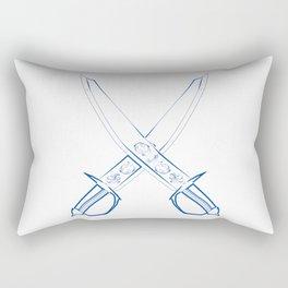 Crossed Cutlasses Blue Outline Rectangular Pillow