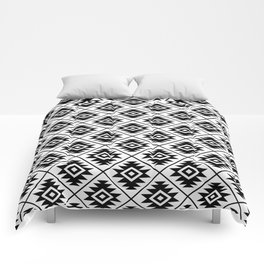 Aztec Symbol Pattern Black on White Comforters