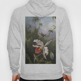 Martin Johnson Heade - Two hummingbirds above a white orchid Hoody