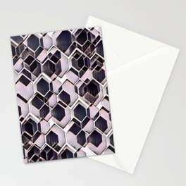 blue grey purple black and white abstract geometric pattern Stationery Cards