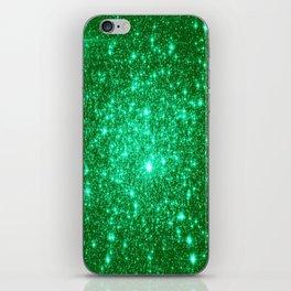 Emerald Green Glitter Stars iPhone Skin